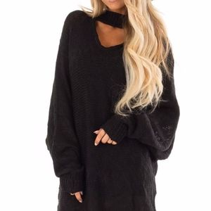 Sweaters - Black Loose Knit Sweater with Chest Cutout